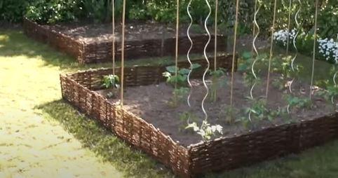 Image qui montre la délimitation d'un un potager avec des branches