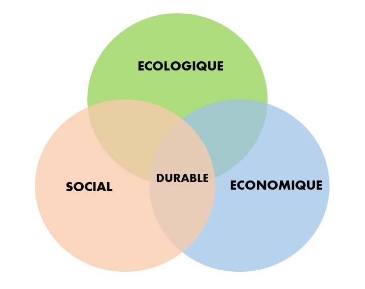 Schéma qui montre les 3 piliers du développement durable