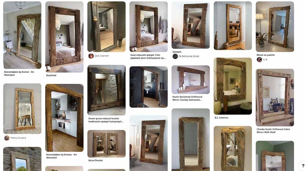 Image avec plusieurs miroirs en bois flotté